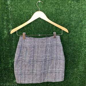 High Waisted Winter Skirt Patterned Plaid & Houndstooth